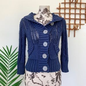 Free People Navy Chunky Knit Cardigan Sweater